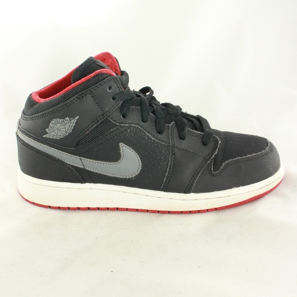 1b65bc489d Kids Air Jordan 1 Mid GS Bred Black Cool Grey Shoe.  M_5a8b6a5edaa8f61d41d35f7e